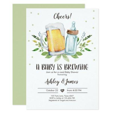 A Baby is Brewing Greenery Cheers Coed Baby Shower