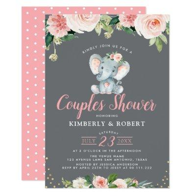 Adorable baby elephant pink floral couples shower