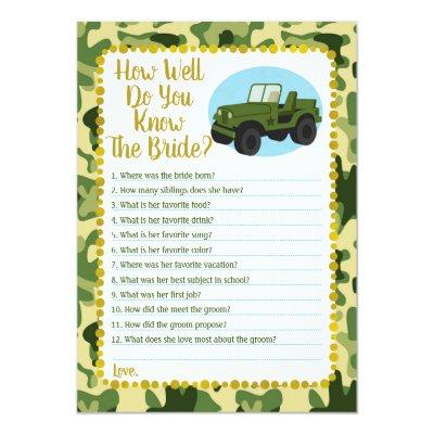 Army Camo How Well Do You Know The Bride Game