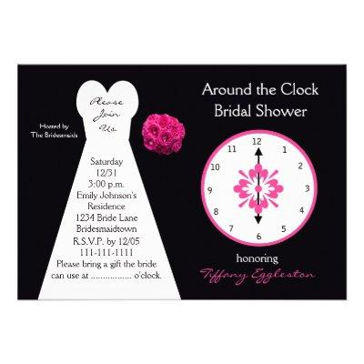 Around the Clock Bridal Shower  Announcement
