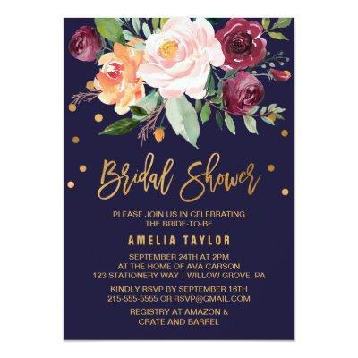 Autumn Floral with Wreath Backing Bridal Shower