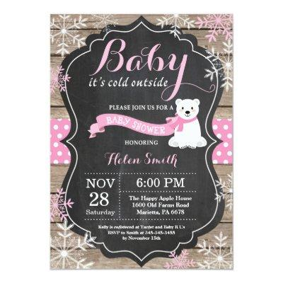 Baby its Cold Outside Polar Bear Girl Baby Shower