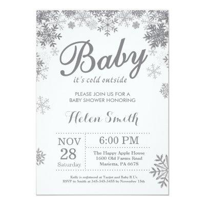 Baby its Cold Outside Winter Gray Baby Shower
