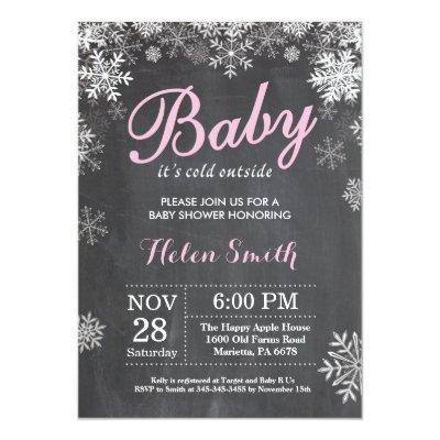 Baby its Cold Outside Winter Pink Girl Baby Shower