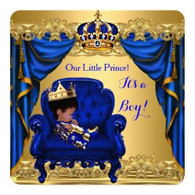 Baby Shower Boy Little Prince Royal Blue Golden Square