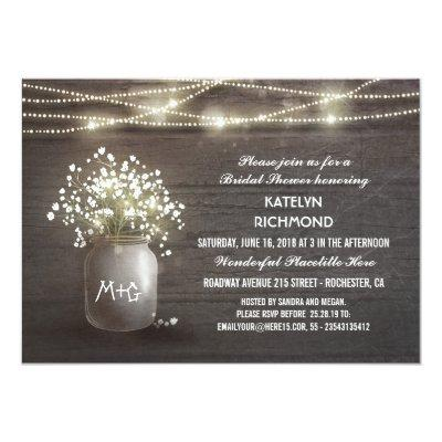 Baby's Breath Mason Jar Lights Bridal Shower