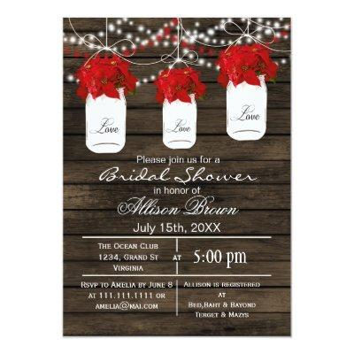 Barnwood poinsettias mason jar bridal shower