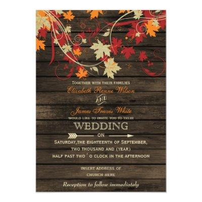 Barnwood, Rustic Fall leaves wedding