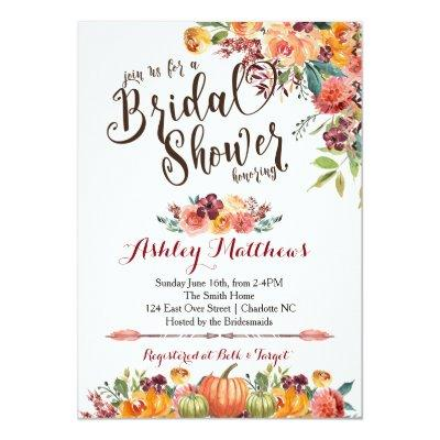 Beautiful FalFloral Bridal Shower Invitation, Baby