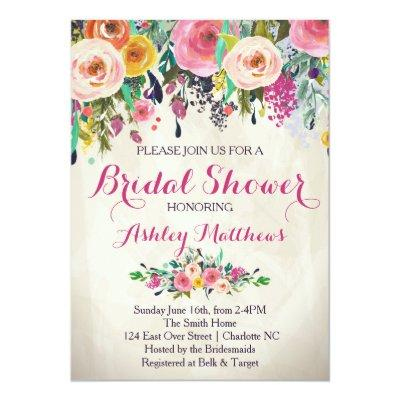 Beautiful Floral Bridal Shower Invitation, Baby