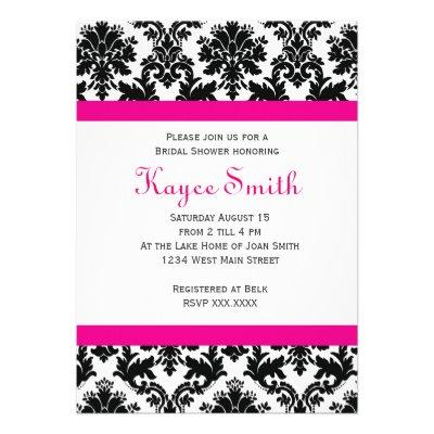 Black and hot Pink Damask