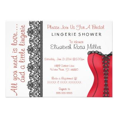 Black & Red Corset Lingerie Bridal Shower Invite Personalized