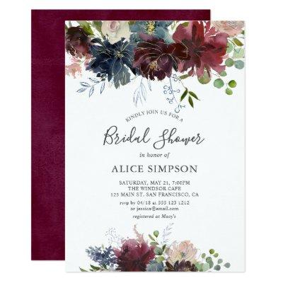 Blue And Burgundy Watercolor Floral Bridal Shower