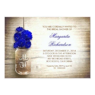 Blue Flowers Mason Jar Rustic