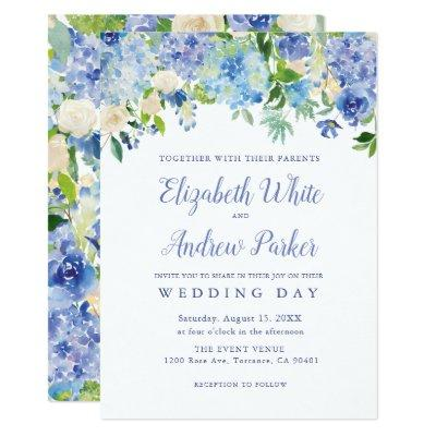 Blue Watercolor hydrangea Floral Wedding
