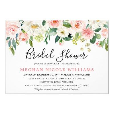 Blush Pink Florals Modern Botanical Bridal Shower