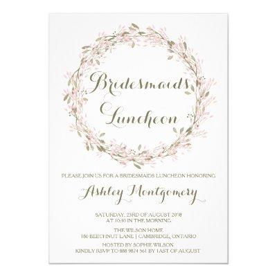 "Blush Winter Wreath Bridesmaids Luncheon Invite 5"" X 7"" Invitation"