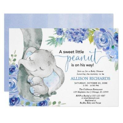Boy baby shower, elephant floral blue watercolors