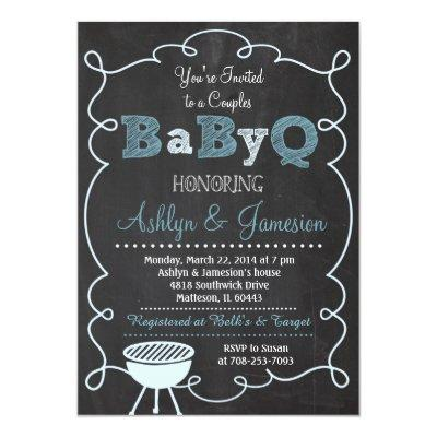 "Boy Couples BabyQ BBQ Baby Shower Invitation 5"" X 7"" Invitation"