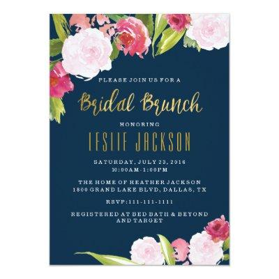 Bridal Brunch Shower Invitations Navy and Gold