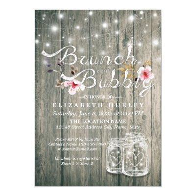 Bridal Shower Brunch Bubbly Rustic Wood Mason Jar