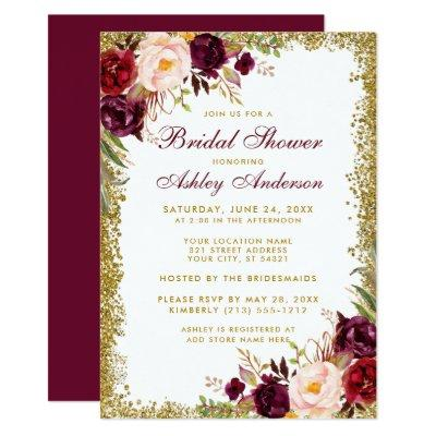 Bridal Shower Burgundy Floral Gold Glitter Invite