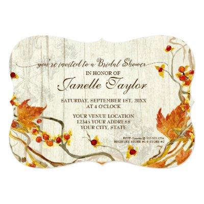 Bridal Shower Elegant Wood Fall Autumn Wedding