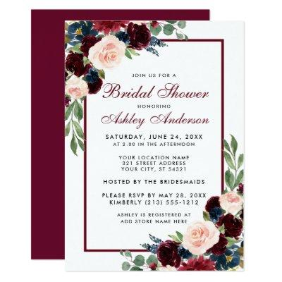 Bridal Shower Floral Burgundy Blue