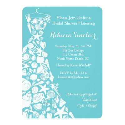 Bridal Shower Invitation, Beach, Sea Shell Dress Invitations