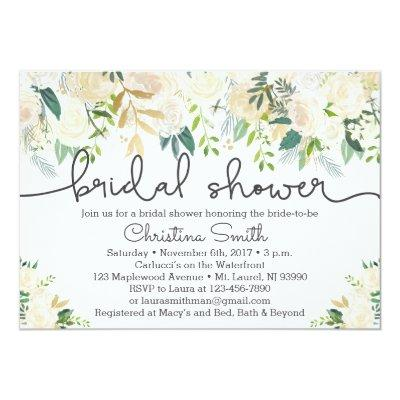 Bridal Shower  Ivory and Greenery