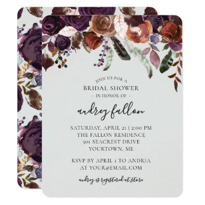 Bridal Shower  Watercolor Fall Floral