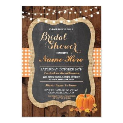 Bridal Shower Pumpkin Fall Wood Burlap
