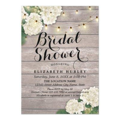 Bridal Shower Rustic Wood Hydrangea Flowers Lights