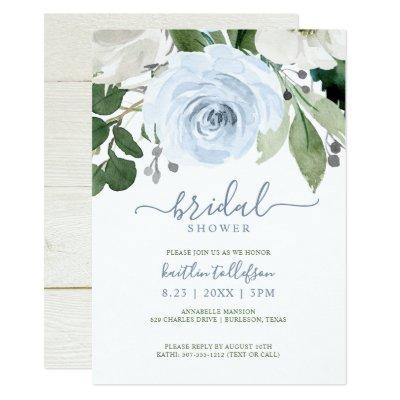 Bridal Shower Watercolor Bouquet Dusty Blue