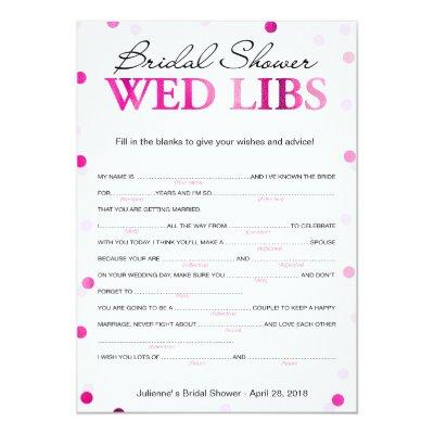 Bridal Shower Wishes and Advice Magenta Game