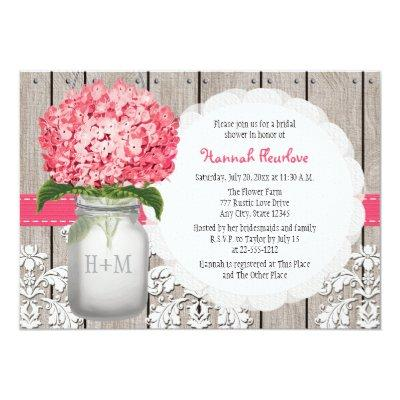 Bright Pink Hydrangea Mason Jar Bridal Shower