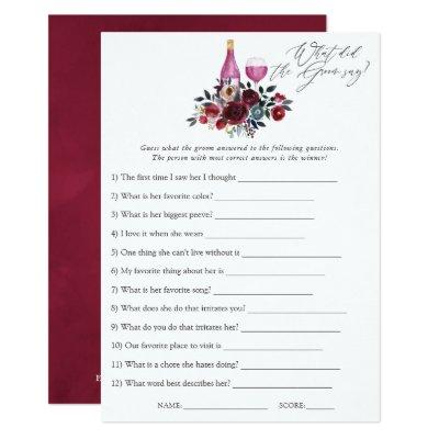 Burgundy and Navy Wine Tasting Bridal Shower Game