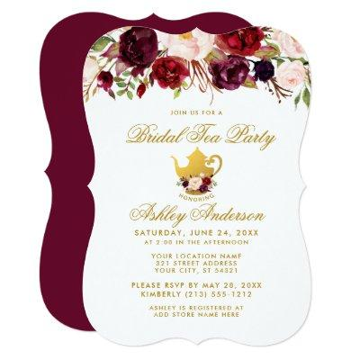 Burgundy Bridal Shower Tea Party Gold Invite GB