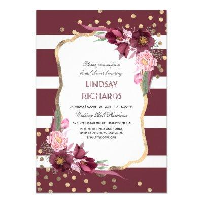 Burgundy Floral Gold Confetti Chic Bridal Shower