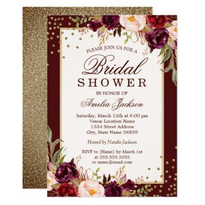 Burgundy floral Sparkle Bridal Shower