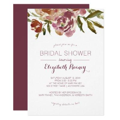 Burgundy Marsala Fall Floral Bridal Shower