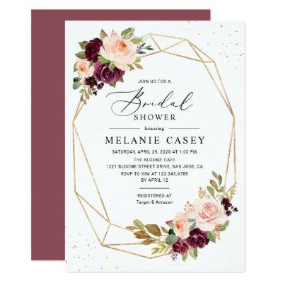 Burgundy Peach Floral Bridal Shower