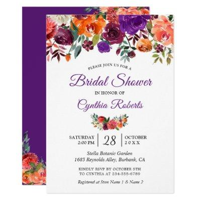 Burgundy Purple Orange Floral Garden Bridal Shower