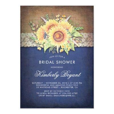 Burlap Lace Sunflower Navy Rustic Bridal Shower