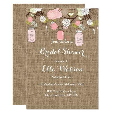 Burlap Pink Mason Jars Bridal Shower