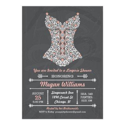 Chalkboard Lingerie Party  Personalized Invite
