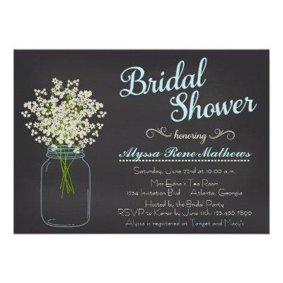 Chalkboard Mason Jar Baby's Breath Bridal Shower Custom Announcements