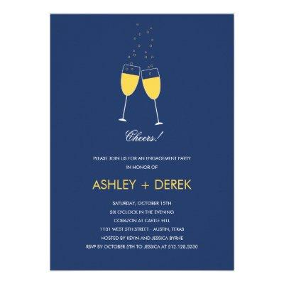 Champagne Toast Engagement Party  Personalized