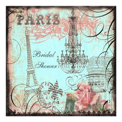 Chic Eiffel Tower & Chandelier Bridal Shower Invite