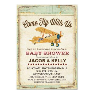 Come Fly Baby Shower Airplane Travel
